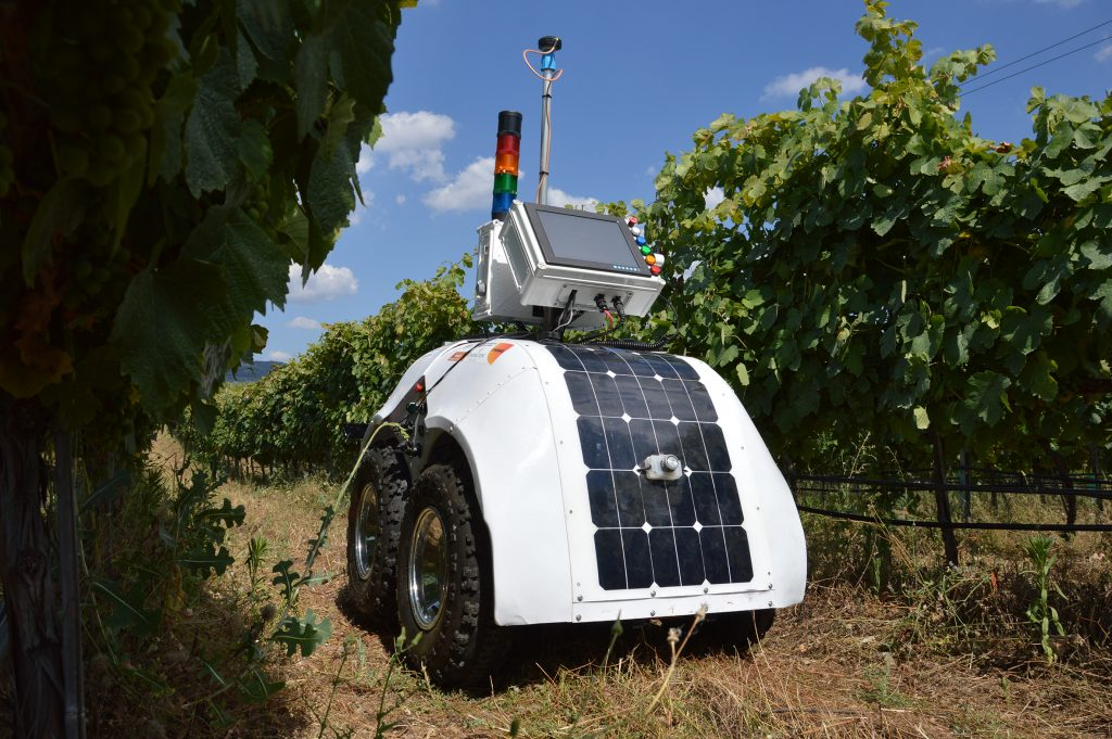 VineScout is fitted with solar panels to help charge the electric batteries on the go.